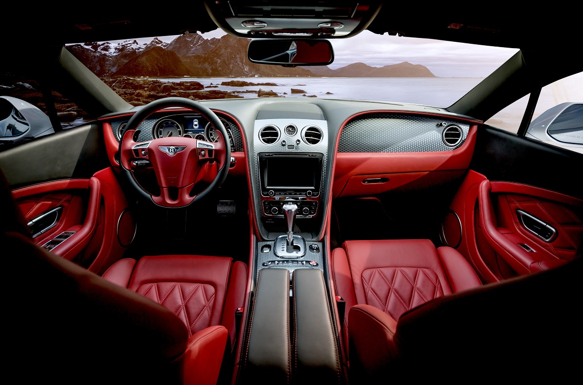 red leather car interior