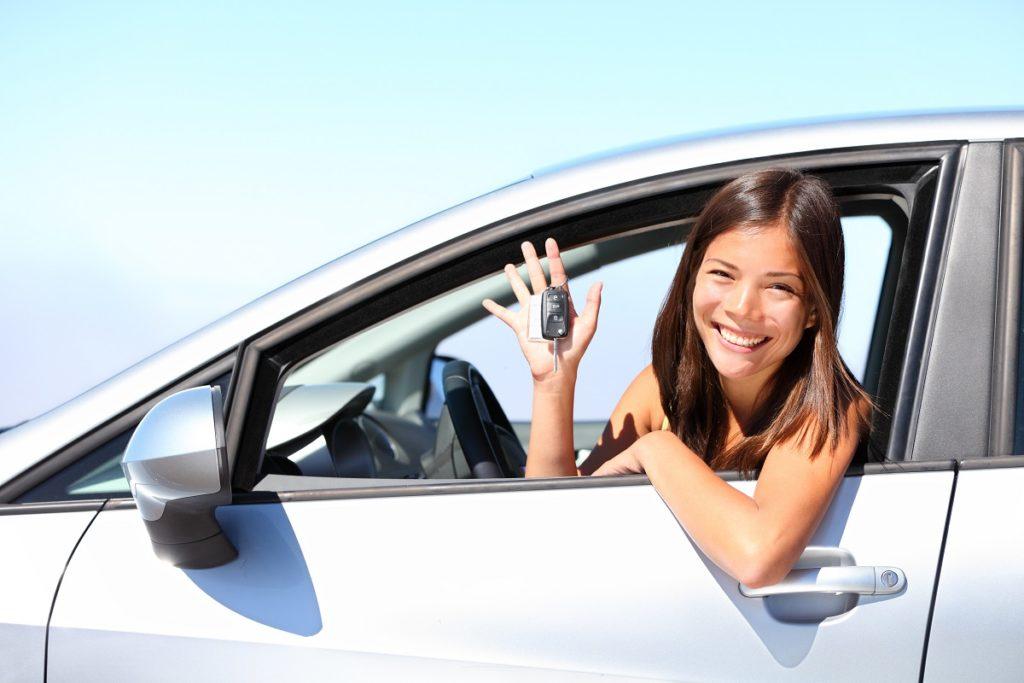 girl inside her car