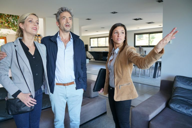 realtor showing property to clients